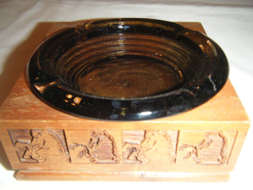Vintage Square Wooden Ashtray Holder CARVED HORSES with Round Glass Ashtray