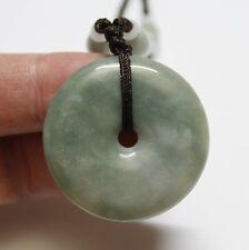 Certified Natural Grade (A) Untreated Light Green Jadeite JADE Circle Pendant