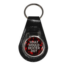 What Would Dexter Do Leather Keyring Gift Boxed blood splatter NEW