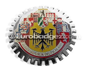 1-NEW-Chrome-Grill-Badge-Germany-German-Cities-Flag-BUNDESREPUBLIK-MEDALLION