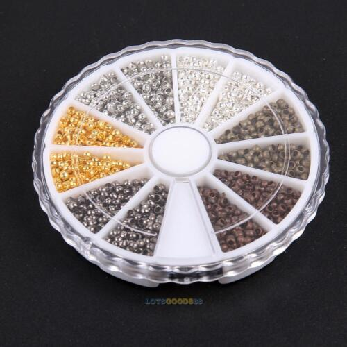 3000pcs 6 Colors// box 2mm Brass Round Crimp End Beads for Jewelry Accessories