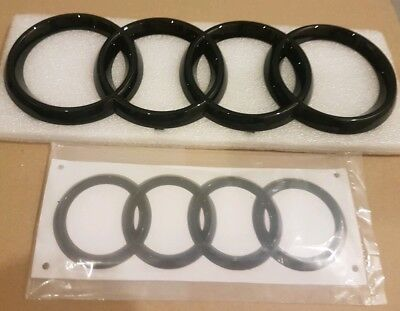Audi Nero Lucido Posteriore & Anteriore Anelli Badge Emblemi Set A4, A5, A6, S-line- Impermeabile, Resistente Agli Urti E Antimagnetico