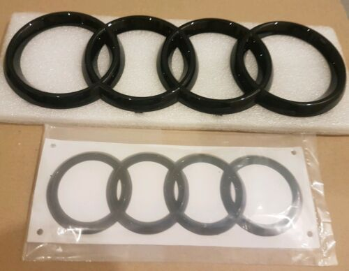 273*94mm /& 178*58mm TT Audi Black Gloss Rear /& Front RINGS Badge Emblems Set