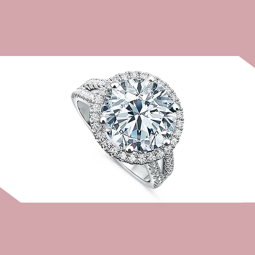 DO NOT BUY TEST ROUND CUT HALO engagement Ring 14k WHITE gold