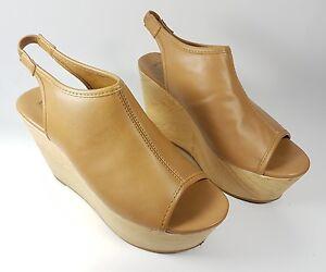 7cd58e8f674 Image is loading Forever-21-tan-faux-leather-platform-slingback-sandals-