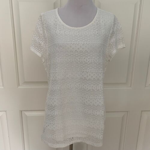 White Short New Sleeve Medium Lace Leo Tag With Nicole Off Blouse Top Cwwqa6t