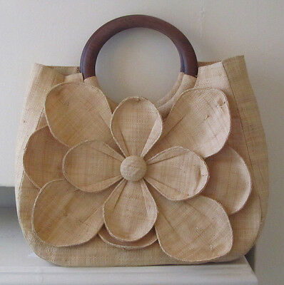 Mar Y Sol Straw Woven Large Flower Purse Wood Handles A Great Summer Bag