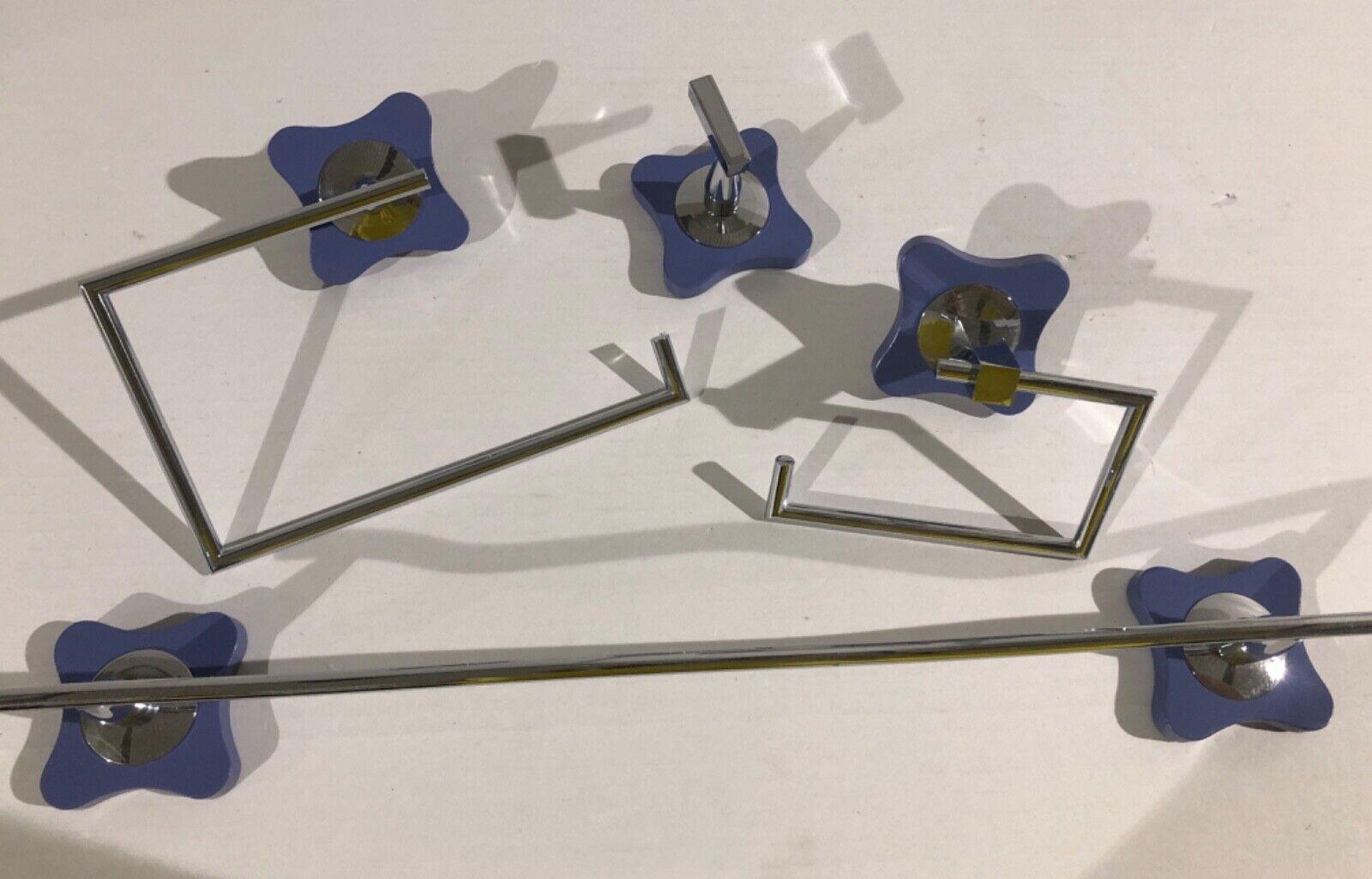 Accesorios Baño 4 piezas cromo azul mod Agatha