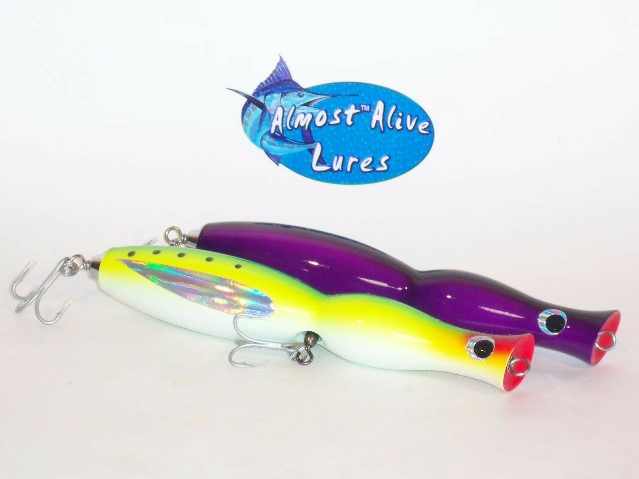 2 WOODEN POPPERS TOP WATER LURES PLUGS SALTWATER BIG GAME FISHING ALMOST ALIVE