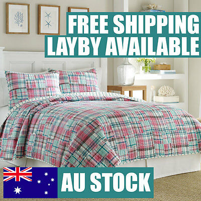 Home & Garden Bedding Energetic Bedspread Set-country Square Patchwork Quilt-3pc Set-cotton-hand Made-queen Commodities Are Available Without Restriction
