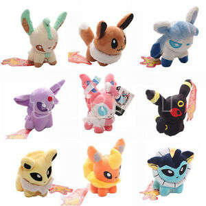 5'' Pokemon Plush Toy Doll Eevee Leafeon Umbreon Jolteon Sylveon Set of 9 Pcs