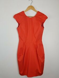 CUE-Coral-Corporate-Business-Sheath-Dress-Women-039-s-Size-8-Imported-Fabric-Pockets