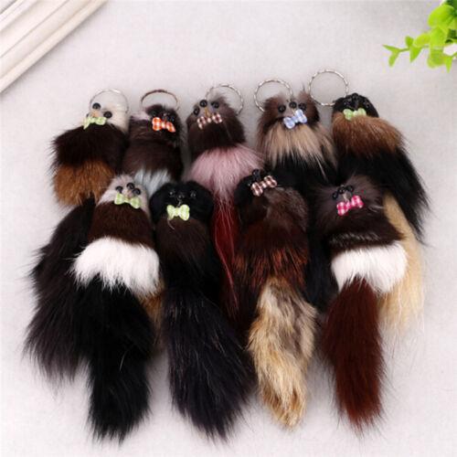 Details about  /Fashion fox Pompon Keychain Animal Mouse Key Chain Car Hanging KeySK