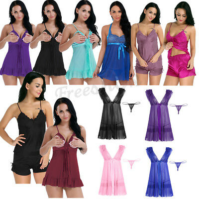 Womens Mesh Dress Spaghetti Strap Ribbon Bowknot Nightgown G-String Sleepwear