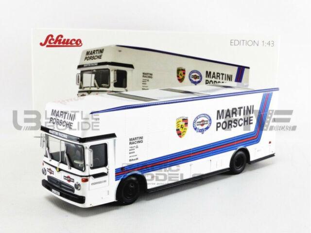 1:43 Schuco Mercedes O317 Porsche race transporter Martini white