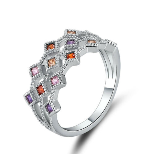 Fashion femmes or blanc rempli Multicolore Micro-Inlay CZ Hollow Ring Taille 6-9