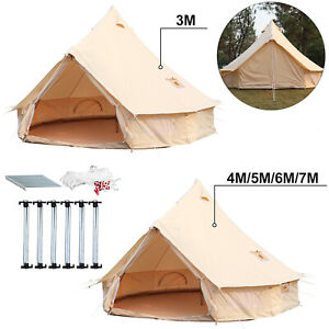 4-Season-Bell-Tent-3-4-5-6M-Waterproof-Cotton-Canvas-Glamping-Camping-Beach-US