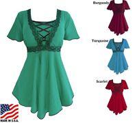 Plus Size Gothic Style Corset Blouse Assorted Colors 1x 2x 3x 4x 5x