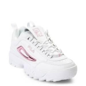 Details zu Damen Fila Disruptor II Weiß Rosa Patent Athletic Schuhe Neu 2