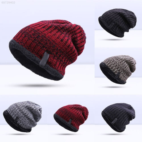 8DFA New Knitted Velvet Thickness Warm Winter Hat For Man Hat Skullies Caps