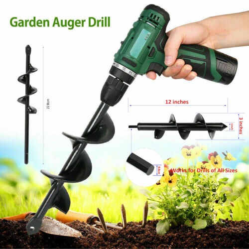 Power Hole Digger Kit Garden Auger Small Big Earth Planter Spiral Drill Bit Post