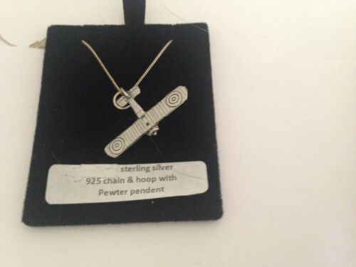 "World War Bi-Plane WW1PPIN Pewter Emblem 925 sterling silver Necklace 16-30/"""