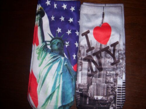 2 PAIR Ladies girls footie socks no show I LOVE NY New York Statue LADY LIBERTY