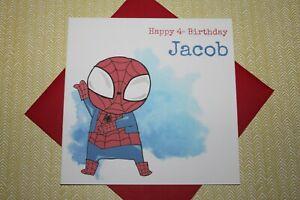 Handmade Personalised Cute Superhero Spider-Man Birthday Card Any Age 4 5 6 7 8