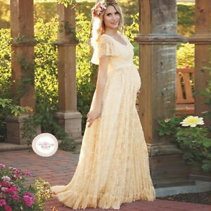 Maxi Lace Maternity Dress Evening Wedding Party Baby Shower Photo