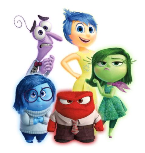 """Inside Out Movie Iron On Transfer for LIGHT Colored Fabric 5/""""x5.5/"""" or 8/""""x8.75/"""""""