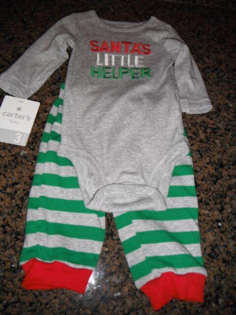 5454218d0 Carter s 2 PC Infant Pajama Set Santa s Little Helper 3 Mos 100 ...