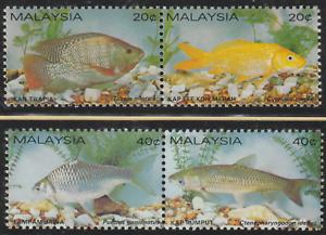104-MALAYSIA-1983-FRESH-WATER-FISH-SET-4V-IN-SE-TENANT-PAIRS-FRESH-MNH