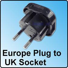 Travel Adapter Plug UK to EU Europe 3 to 2 pin Socket Male Female England Black