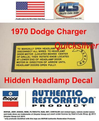 1970 Dodge Charger /& R//T Rotate Hidden Headlamp Decal New MoPar
