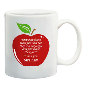 personalised teacher quote apple ceramic mug coffee cup