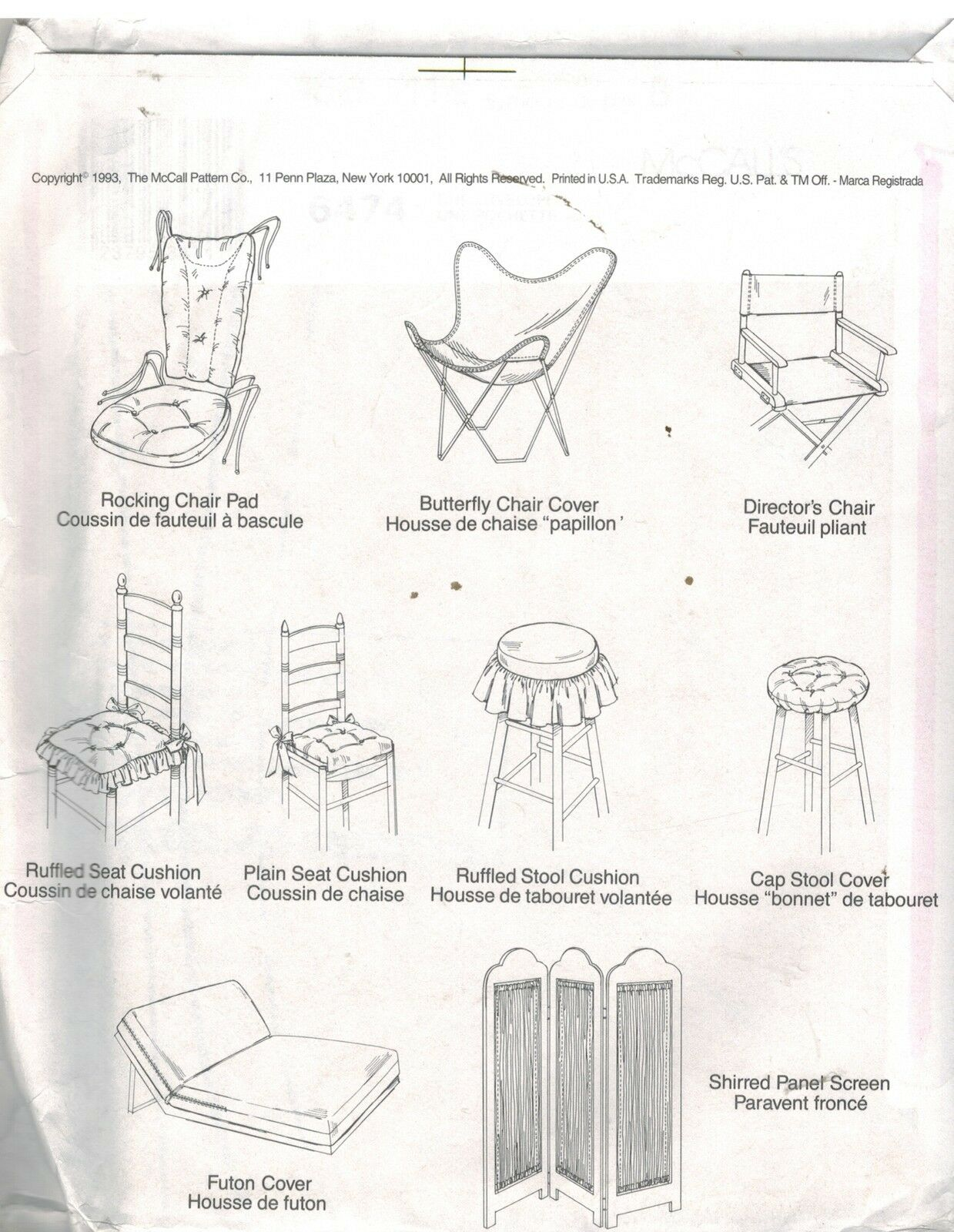 6474 Uncut Mccalls Sewing Pattern Cover Essentials Chair Pad Cushion Covers Oop
