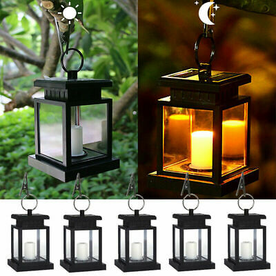 2W Solar Powered Lantern Light Hanging Outdoor Waterproof Garden LED Candle Lamp