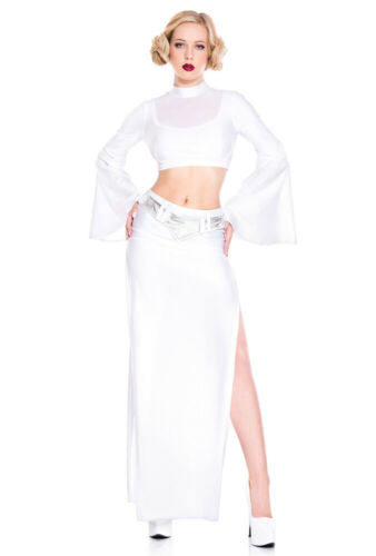 Details about  /Music Legs white long skirt Princess Leia costume