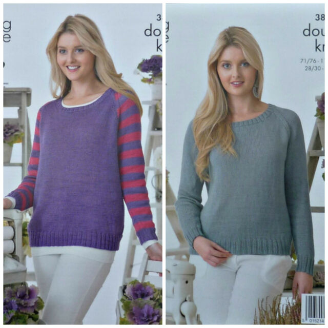 9fe500ae734d KNITTING PATTERN Ladies Long Sleeve Round Neck Striped Jumper Cotton DK 3895