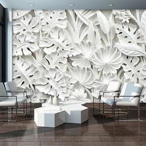 Vlies Fototapeten Tapeten Abstraktion 3d Blumen Porzellan Weiss