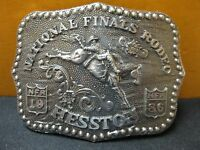 1986 Vintage Hesston National Finals Rodeo Belt Buckle Free Shipping