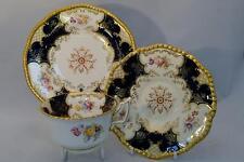 Lovely Antique Coalport Cobalt Blue Floral Batwing Trio - Cup, Saucer & Plate