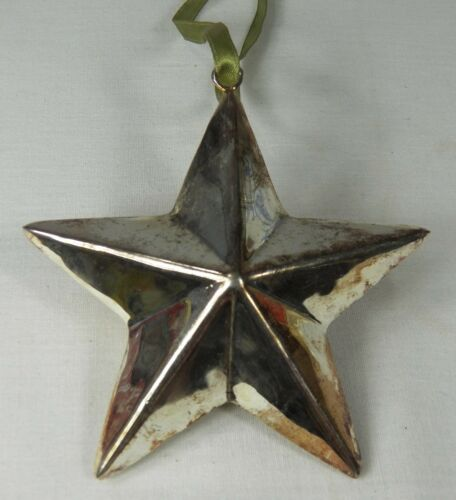 """Silver Metal STAR Christmas Holiday Ornament 3 Dimensional 4 /"""" Tarnished"""