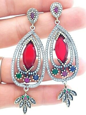 Turkish Jewelry Handmade 925 Silver Earrings Vintage Victorian Antique Ruby 2446