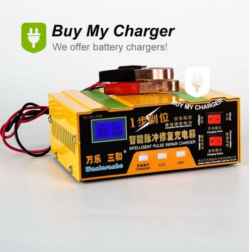 12V//24V 100AH Car Lead Acid/&Lithium Battery Charger Desulfation Charger