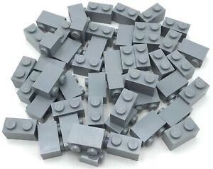 Lego-50-New-Light-Bluish-Gray-Bricks-1-x-2-Dot-Building-Blocks-Pieces