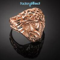 Rose Gold Jesus Face Diamond Cut Ring