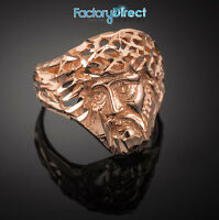 Rose Gold Jesus Face Diamond Cut Ring