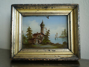 fixe sous verre ancien xix s peinture miniature paysage romantique cadre dore 1 ebay. Black Bedroom Furniture Sets. Home Design Ideas