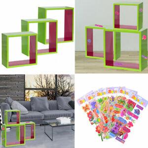 Mur-Etageres-3-Pieces-Haute-Brillance-Rose-Vert-Clair-Support-Deco-Puffy-Sticker